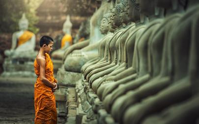 shutterstock_435140692-Novices-monk-vipassana-meditation-at-front-of-Buddha-statue_-Thailand