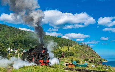 shutterstock_456615211-Tourist-train-rides-in-the-village-of-old-Angasolka_-Circum-Baikal-Railway_-Russia