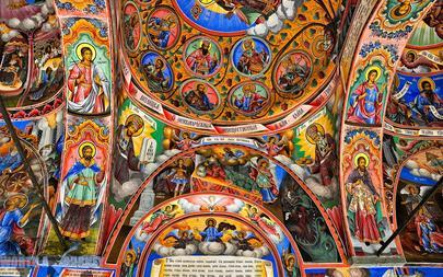 Colorful-Arch-at-Rila-Monastery-in-Bulgaria